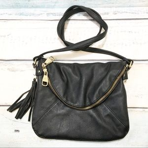 Steve Madden Black Fringe Zippered Crossbody Purse